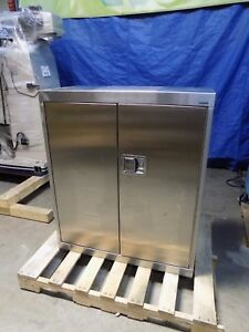 Sandusky Stainless Steel Storage Cabinet 3 shelf 42 X 36 X 18 Damaged