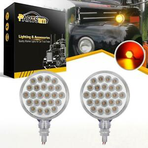 2xchrome Red Amber 48led Truck Stop Turn Tail Stud Double Face Lights Clear Lens