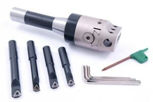 Indexable Tool Set With 2 Boring Head R8 Shank 4 Boring Bars 1001 0201