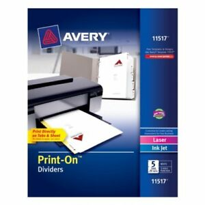 New Avery 5 tab Print on Dividers With White Tabs 25 Sets Free Shipping
