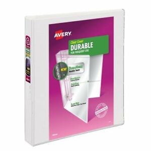 Avery 1 White 5 5 X 8 5 Durahinge Mini Durable Round Ring View Binders 6pk