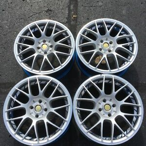 Set 4 17 Volks Racing Rays Wheels 4x100 17x7 Silver With Blue Accents