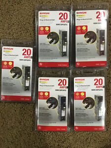 Lot Of 5 Square D Hom120pcafic Homeline 20 amp 1 pole Combo Circuit Breakers