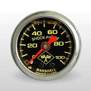 Marshall Fuel Pressure Gauge Mns00100 0 To 100 Psi 1 1 2 Full Sweep Mechanical