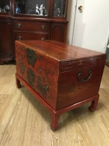 Old Antique Chinese Original Red Lacquer Wooden Chest 28 Wide 20 High