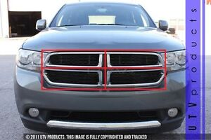Gtg 2011 2013 Dodge Durango 4pc Gloss Black Upper Overlay Billet Grille Kit