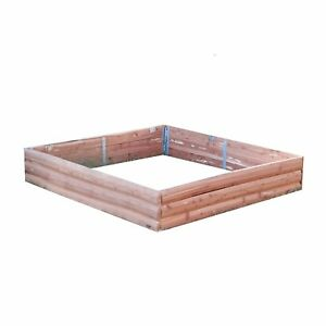 Red Cedar Log Raised Garden Bed Square