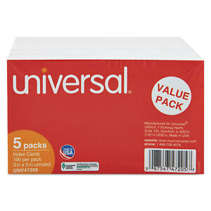 Universal Unruled 3 X 5 White Index Cards pack Of 5