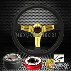 Gold Deep Dish Steering Wheel Red Quick Release For Acura Integra 1986 1989