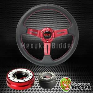 Red Deep Dish Steering Wheel Quick Release Hub Kit For Mazda Miata 1989 2005