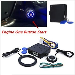 Auto Car Engine Push Start Button Ring Engine Lock Ignition Starter System Kit