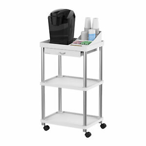 Mind Reader valet 3 Tier Rolling Coffee Cart Free Organizer Included White