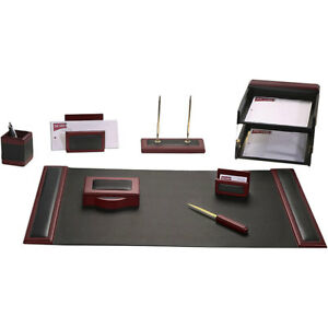 Dacasso Wood And Leather 10 piece Desk Set Pink