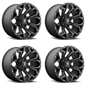 Set 4 17 Fuel Assault D546 Black Milled Wheels 17x9 6x135 6x5 5 1mm Ford 6 Lug