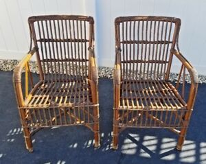 Pair Of Rare Antique Rattan Reed Arm Chairs