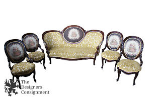 5 Pc Antique Victorian Parlor Set Setee 4 Chairs Yellow Brocade Embroidered