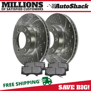 Front Drilled Slotted Brake Rotors Metallic Pads For 05 14 Toyota Tacoma 6 Stud
