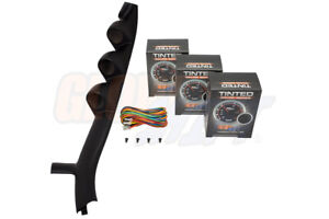 Glowshift 52mm Triple Pillar Pod 3 Tinted Series Gauges For 87 93 Ford Mustang