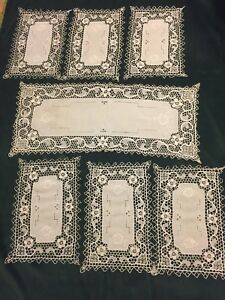 Antique Victorian Point De Venise Placemats 6 Runner Quality Linen