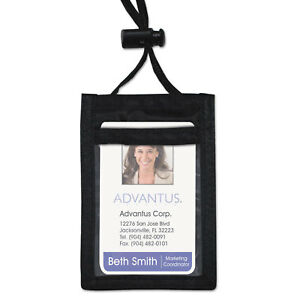 Advantus Id Badge Holder With Convention Neck Pouch Vertical 2 1 4 X 3 1 2 Black