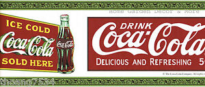 Genuine Vintage Collectible Coca Cola Coke Bottles Red Green Wall paper Border