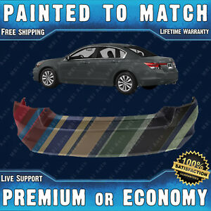 New Painted To Match Rear Bumper Cover Fascia For 2008 2012 Honda Accord
