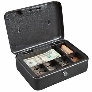 Hercules Cb1007 Key Locking Cash Box With 6 Compartment Tray Recycled Steel