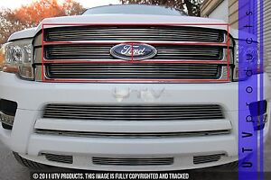 Gtg 2015 2017 Ford Expedition 4pc Polished Upper Billet Grille Insert Kit