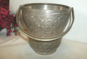 Vintage Etched Silver Special Plate Ice Bucket