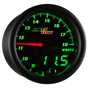 52mm Black Maxtow Double Vision Green Led Voltage 8 18v Gauge Meter Kit Mt dv05