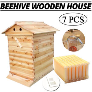 2 box Bee Beekeeping Wooden House 7pcs Hive Flow Auto Honey Beehive Frames Hot