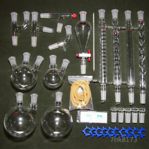 Iso 32 Pcs Lab Chemical Unit 24 40 Organic Chemistry Laboratory Glassware Kit