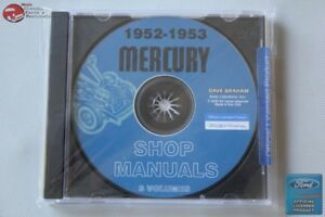 1952 1953 Mercury Shop Repair Manuals 3 Volumes Cd Rom Disc Pdf New
