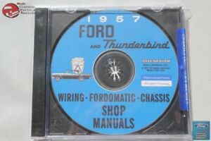 1957 Ford Car Thunderbird Wiring Fordomatic Chassis Shop Manuals Cd Rom Disc New