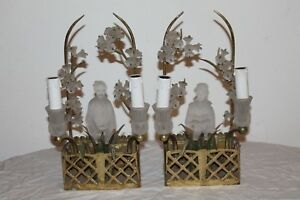 Hollywood Regency Pair French Maison Bagues Chinoiserie Cherry Blossoms Sconces