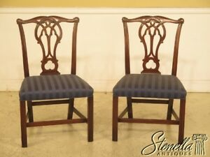 43952ec Pair Kittinger Cw 16 Chippendale Style Mahogany Side Chairs