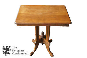 Antique American Victorian Walnut Parlor Accent Table Carved Apron