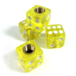 4 Premium Clear Yellow Dice Tire Wheel Air Stem Valve Caps For Car Truck Hot Rod