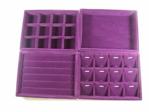 Purple Color Velvet Case For Retail Jewelry Storage Display Showcase Set Of 4