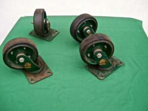 Vintage Rapistan Industrial Swivel Cold Forged Casters Lot Of 4 4200 Series