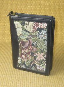 Pocket 1 Rings Black Leather tapestry Franklin Covey quest Zip Planner binder