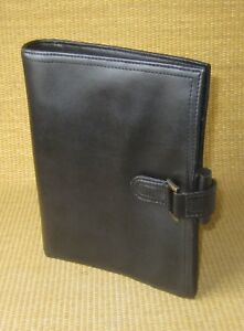 Classic desk 1 Rings Black Sim Leather Unstructured Day timer Planner binder