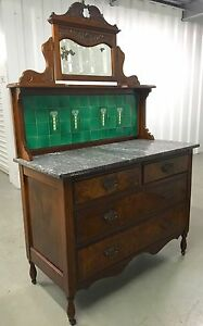 Antique 1800 S English Mahogany Marble Top Wash Stand 31 5h47h66h42 5w19d