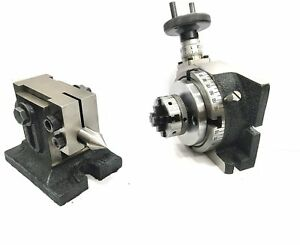 Horizontal Vertical Milling Indexing 4 100 Rotary Table tailstock 50mm 4jaw