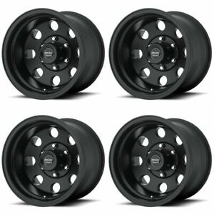 Set 4 16 American Racing Ar172 Baja Black Wheels 16x8 5x135 0mm Ford F150 5 Lug