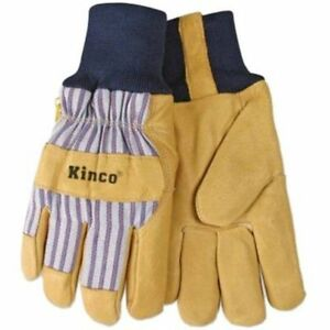 Kinco Lined Knit Wrist Pigskin Work Gloves Size Large Construction 3 Pairs