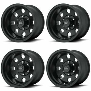 Set 4 16 American Racing Ar172 Baja Black Wheels 16x8 5x4 5 0mm Jeep Ford 5 Lug