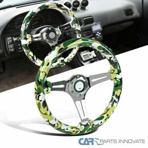 350mm Wooden Hydrographics Bdu Style Camouflage Green Racing Steering Wheel Dish