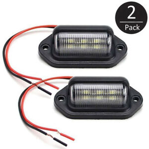 2x Universal 6 Smd Led License Plate Tag Light Lamps For Truck Suv Trailer Van J