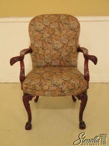 45757ec Carved Mahogany Eagle Arm Upholstered Chair
